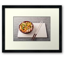 Asian dish of rice noodle and vegetable seasonings Framed Print