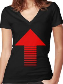 ARROW UP-RED Women's Fitted V-Neck T-Shirt
