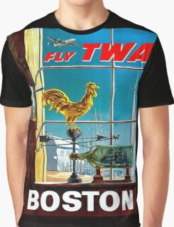 """""""TWA AIRLINES"""" Fly to Boston Advertising Poster Graphic T-Shirt"""