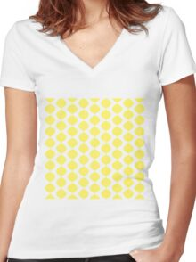Eames Era Retro 60s Waves Pattern (Yellow Light) Women's Fitted V-Neck T-Shirt