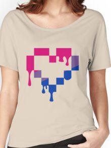 Bleeding Pixel Heart-Bisexual Pride Women's Relaxed Fit T-Shirt