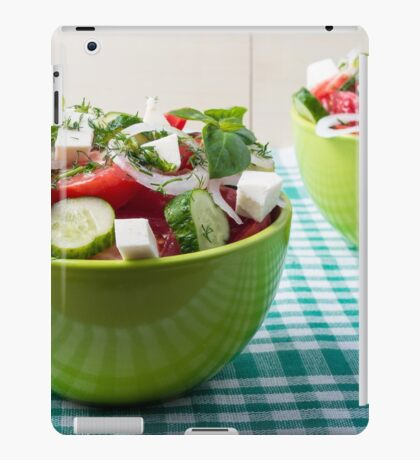 Useful vegetarian food from raw tomatoes, cucumbers and onions iPad Case/Skin