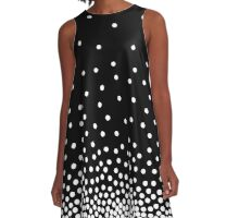 Spot Shaded 240816 - White and Black A-Line Dress
