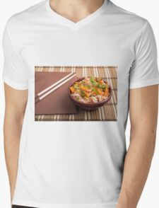 One serving of rice vermicelli hu-teu with vegetables Mens V-Neck T-Shirt