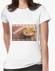 One serving of rice vermicelli hu-teu with vegetables Womens Fitted T-Shirt