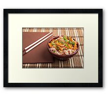 One serving of rice vermicelli hu-teu with vegetables Framed Print