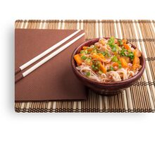 One serving of rice vermicelli hu-teu with vegetables Canvas Print