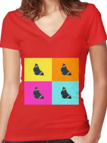 Butterfly on colours (1) Women's Fitted V-Neck T-Shirt