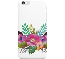 Watercolour deer antlers with floral crown iPhone Case/Skin