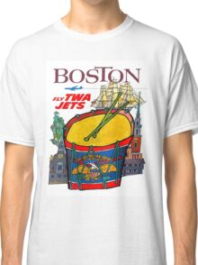 """TWA AIRLINES"" Fly to Boston Advertising Print Classic T-Shirt"