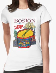 """""""TWA AIRLINES"""" Fly to Boston Advertising Print Womens Fitted T-Shirt"""