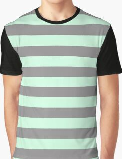 Summer Mint Green and Dark Gray Horizontal Circus Tent Stripes Graphic T-Shirt