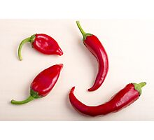 Top view on a hot red chili peppers Photographic Print