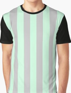 Summer Mint Green and Gray Vertical Circus Tent Stripes Graphic T-Shirt