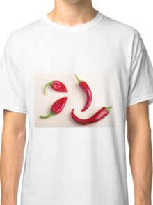 Top view on a hot red chili peppers Classic T-Shirt