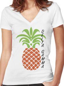 Delta Gamma Pineapple Women's Fitted V-Neck T-Shirt