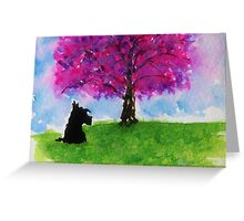 Scottie Dog 'Cherry Blossom Tree' Greeting Card