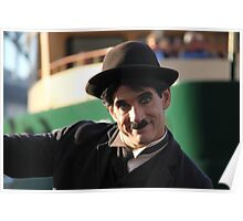 Charlie Chaplin? In front of Sydney ferry and Sydney Harbour Bridge Poster