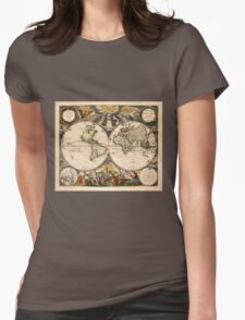 Map of the World (1672) Womens Fitted T-Shirt