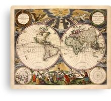 Map of the World (1672) Canvas Print