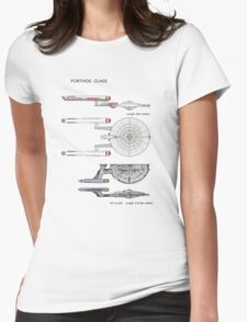 U S S Porthos  Research Class Cruiser Womens Fitted T-Shirt