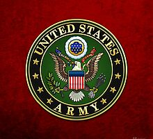 U.S. Army Emblem 3D on Red Velvet by Captain7