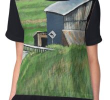 Southern Ohio Countryside landscape painting Chiffon Top