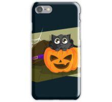 Black Cat in a Jack-o-lantern iPhone Case/Skin