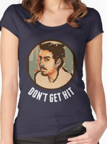 Isai - Don't Get Hit [White Text] Women's Fitted Scoop T-Shirt