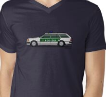 Mercedes Benz W124 300TE Wagon German Police Mens V-Neck T-Shirt