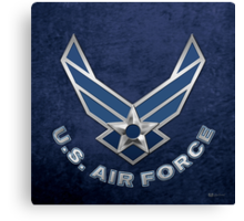 U.S. Air Force - USAF Logo 3D on Blue Velvet Canvas Print