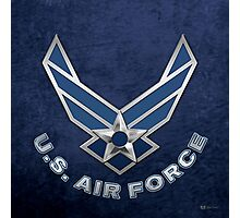 U.S. Air Force - USAF Logo 3D on Blue Velvet Photographic Print