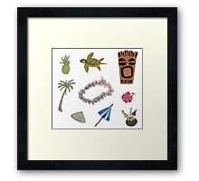 Tropical Life Hand-Painted Watercolors Beach and Tropics Framed Print