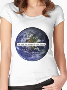 SHE HELD THE WORLD UPON A STRING TUMBLR Women's Fitted Scoop T-Shirt