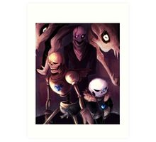 Undertale - Skelebros and Gaster Art Print