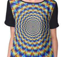 Psychedelic Pulse in Blue and Yellow  Chiffon Top