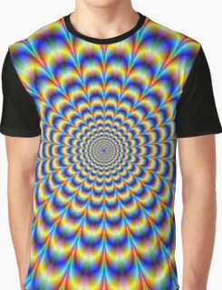 Psychedelic Pulse in Blue and Yellow  Graphic T-Shirt
