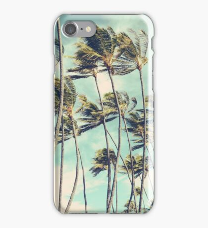 Hawaii Palm Trees In The Wind iPhone Case/Skin