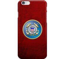 U.S. Coast Guard - USCG Emblem 3D on Red Velvet iPhone Case/Skin