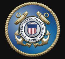 U.S. Coast Guard - USCG Emblem 3D on Blue Velvet Kids Clothes