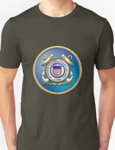 U.S. Coast Guard - USCG Emblem 3D on Blue Velvet T-Shirt