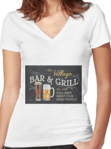 Bar and Grill Women's Fitted V-Neck T-Shirt