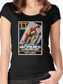 1931 Netherlands Motorcycle Race Poster Women's Fitted Scoop T-Shirt