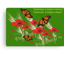 Poppies and butterflies (2506 Views) Canvas Print
