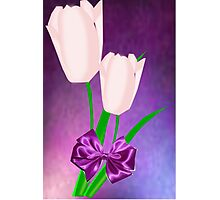 2 Pink Tulips (7741 Views) Photographic Print