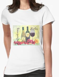 Watercolor Wine Womens Fitted T-Shirt