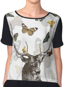 The Stag & Butterflies Chiffon Top