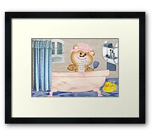Teddy in the bath tub (4627 Views) Framed Print
