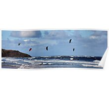 Kite Surfers - Dee Why Beach, NSW, Australia Poster