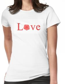 Love Flower Red Womens Fitted T-Shirt